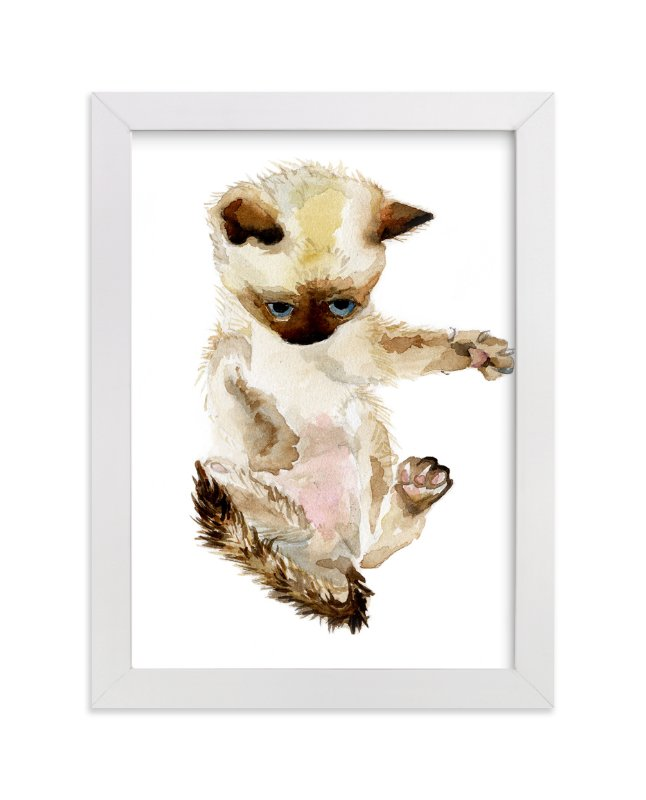 """""""Siamese Kitten"""" - Art Print by Lauren Rogoff in beautiful frame options and a variety of sizes."""