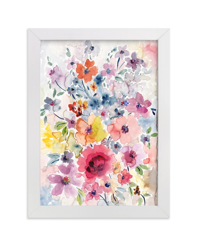 """""""Watercolor Flowers 1"""" - Art Print by Susanna Nousiainen in beautiful frame options and a variety of sizes."""