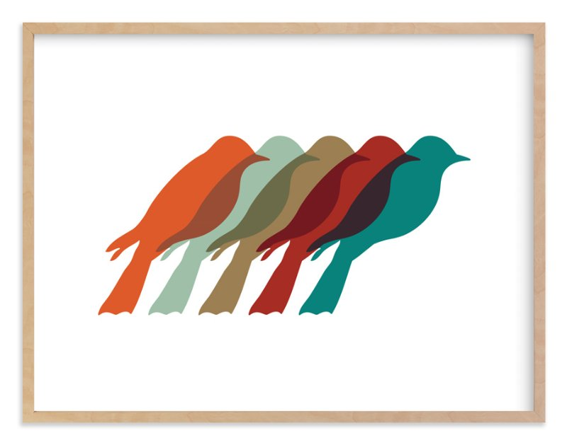 """""""Mod Birds"""" - Art Print by Jennifer Morehead in beautiful frame options and a variety of sizes."""