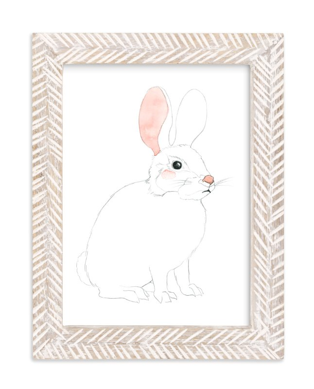 """Blushing Bunny"" - Art Print by Molly Schafer in beautiful frame options and a variety of sizes."