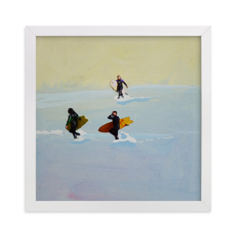 """""""Rincon Surfers"""" - Art Print by Annie Seaton in beautiful frame options and a variety of sizes."""