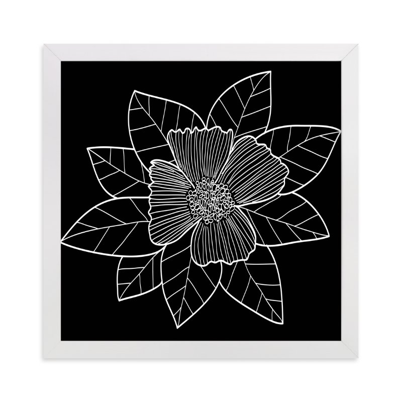 """""""doodle leaves & flower"""" - Art Print by aticnomar in beautiful frame options and a variety of sizes."""