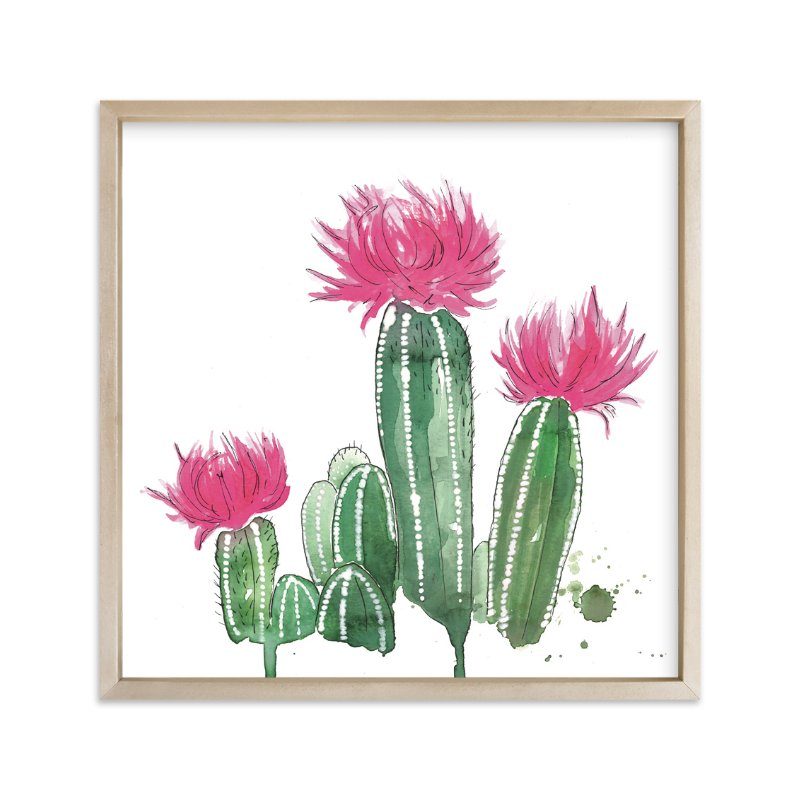 """""""The Blooming Cactus"""" - Art Print by Kelsey McNatt in beautiful frame options and a variety of sizes."""