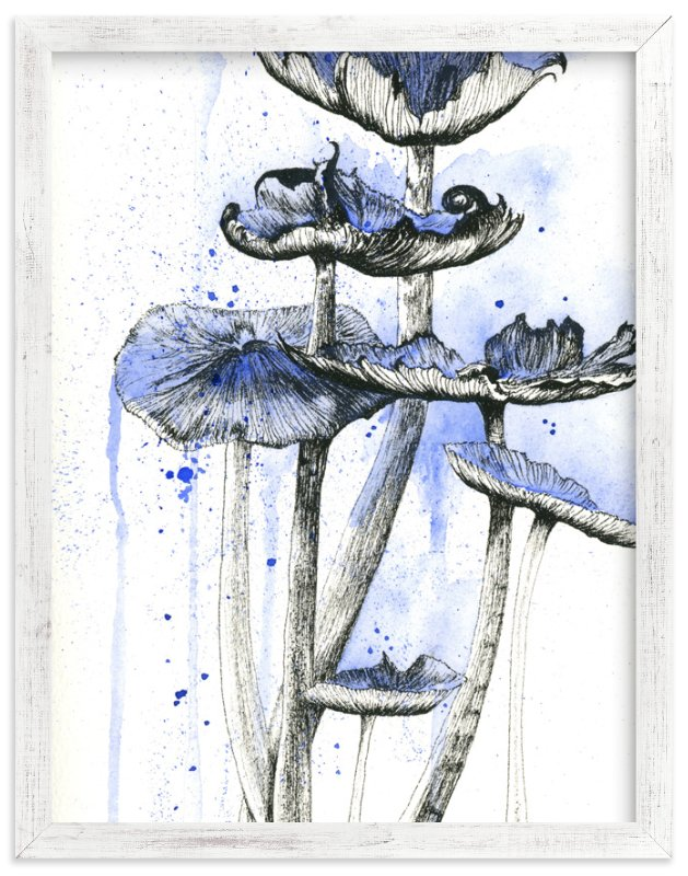 """Blue Mushrooms"" - Art Print by Emily Magone in beautiful frame options and a variety of sizes."