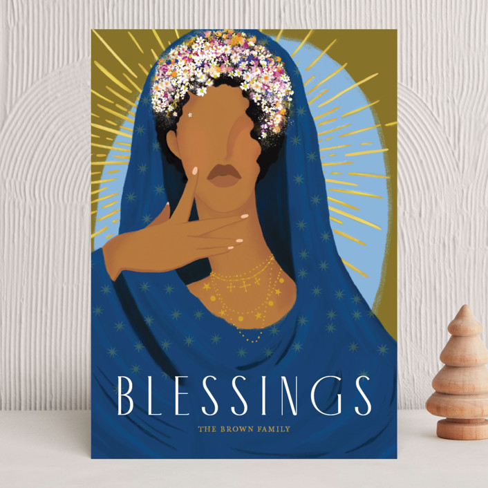 """Blessed"" - The Met Holiday Cards in Olive by Marabou Design."