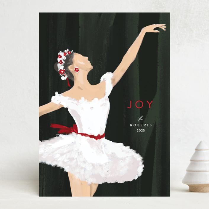 """Joyful Ballerina"" - The Met Holiday Cards in Scarlet by Robin Ott."