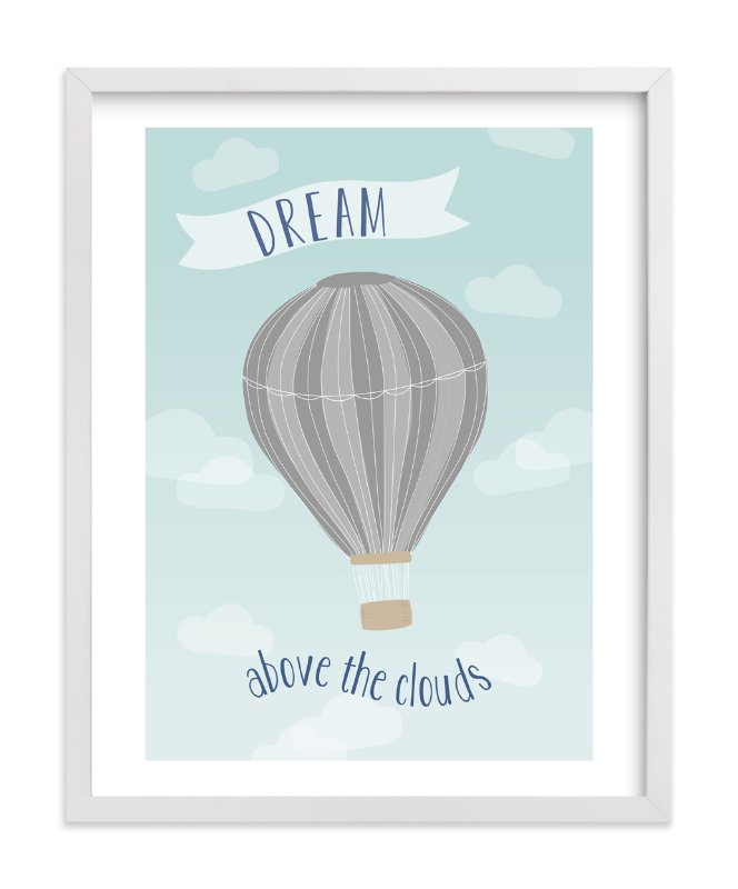 """""""Hot Air Balloon in the Clouds"""" - Art Print by Kayley Miller in beautiful frame options and a variety of sizes."""