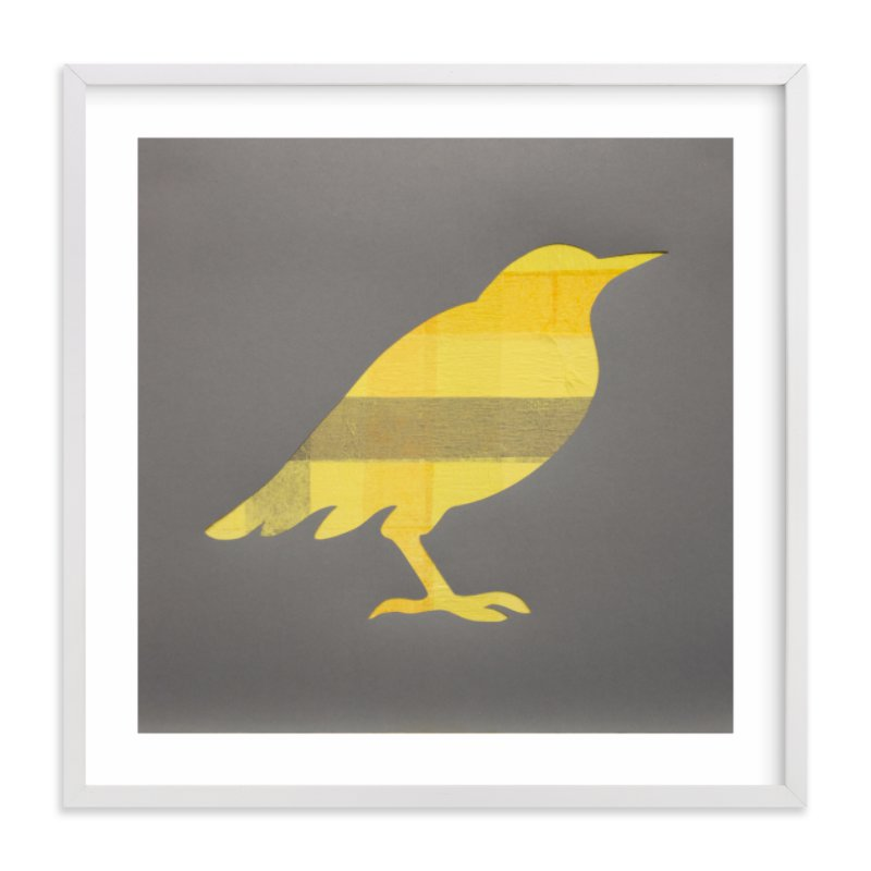 """Yellow Bird"" - Art Print by Jeff Preuss in beautiful frame options and a variety of sizes."