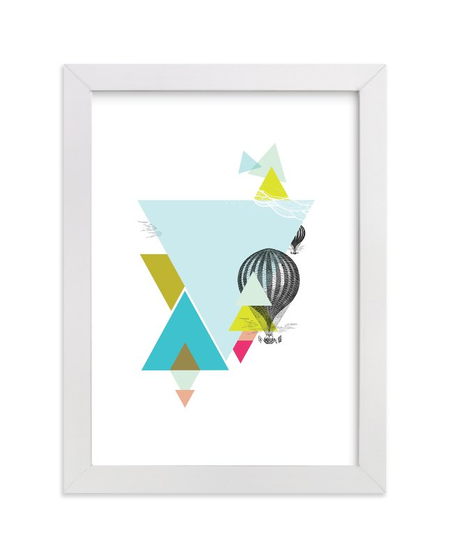 """""""Hot-Air Balloon Geo"""" - Art Print by Lady Noble in beautiful frame options and a variety of sizes."""