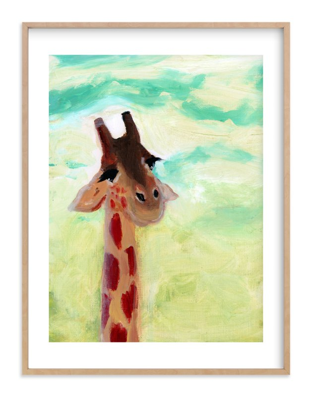 """""""Giraffe Up Close"""" - Art Print by Lindsay Megahed in beautiful frame options and a variety of sizes."""
