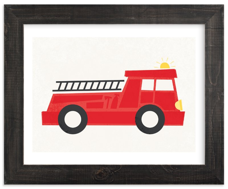 """""""Fierce Firetruck"""" - Art Print by Jessie Steury in beautiful frame options and a variety of sizes."""