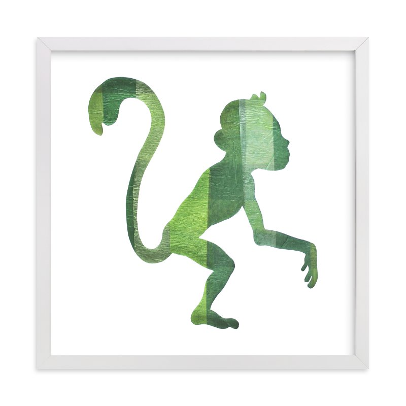 """Green Party Monkey"" - Art Print by Jeff Preuss in beautiful frame options and a variety of sizes."