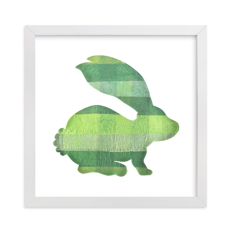 """Green Party Bunny"" - Art Print by Jeff Preuss in beautiful frame options and a variety of sizes."
