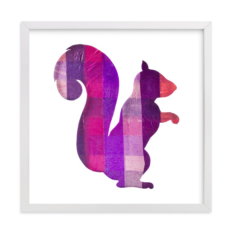 """Pink Party Squirrel"" - Art Print by Jeff Preuss in beautiful frame options and a variety of sizes."