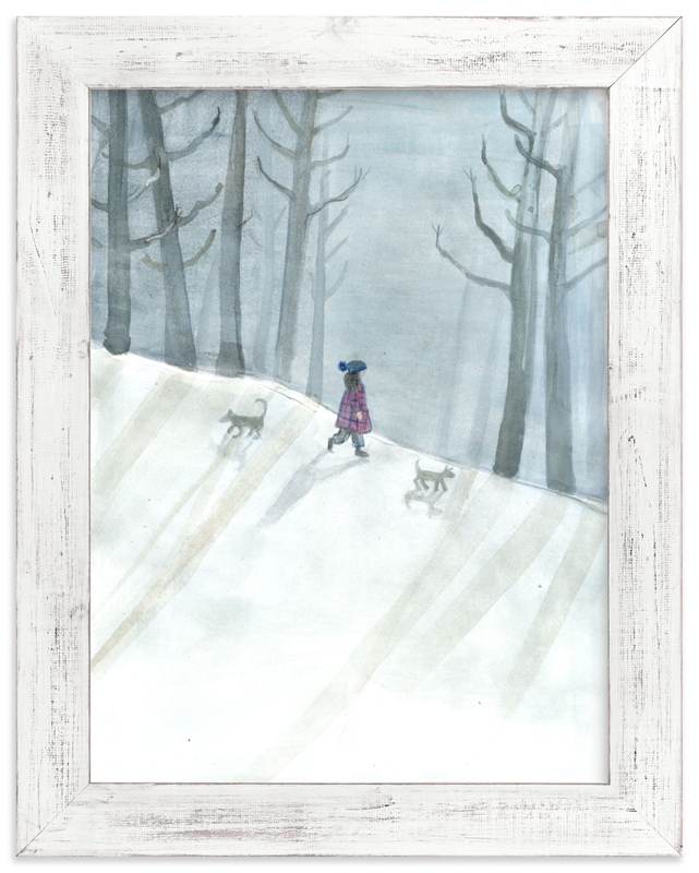 """""""Snowy Evening"""" - Art Print by Lulaloo in beautiful frame options and a variety of sizes."""