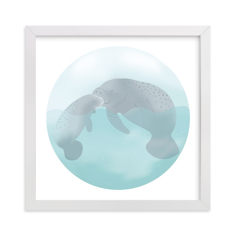 """Mom and Me-Manatees"" - Art Print by Jennifer Holbrook in beautiful frame options and a variety of sizes."