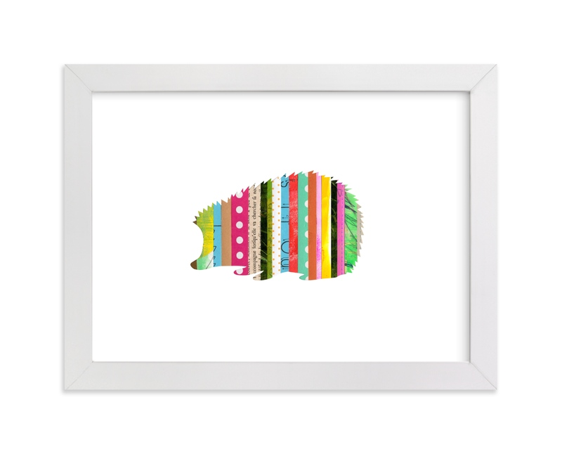 """""""Stripy Hedgehog"""" - Art Print by Shelley Kommers in beautiful frame options and a variety of sizes."""