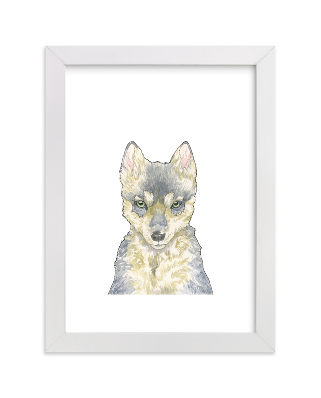 """""""Winsome Wolf"""" - Art Print by Natalie Groves in beautiful frame options and a variety of sizes."""
