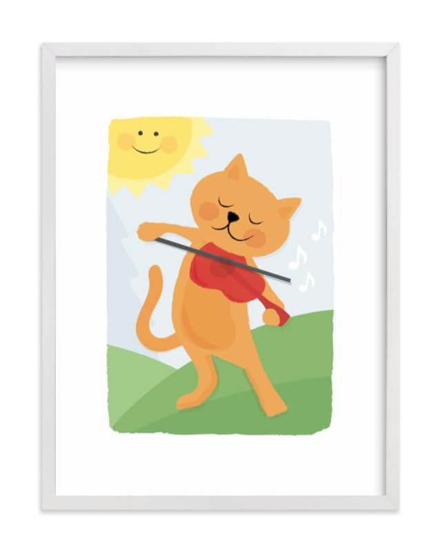 """The Cat and the Fiddle"" - Art Print by Jessie Steury in beautiful frame options and a variety of sizes."
