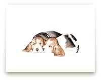 Sleepy Watercolor Puppies
