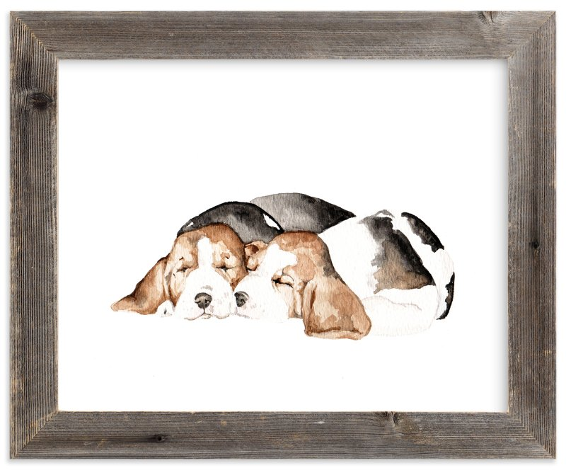 """""""Sleepy Watercolor Puppies"""" - Art Print by Lauren Rogoff in beautiful frame options and a variety of sizes."""