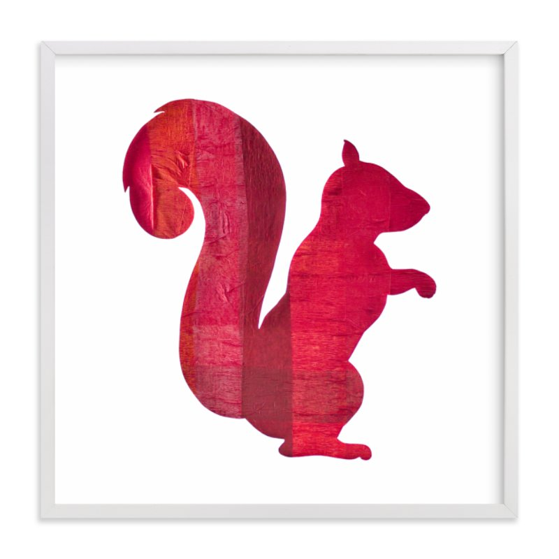 """""""Red Party Squirrel"""" - Art Print by Jeff Preuss in beautiful frame options and a variety of sizes."""