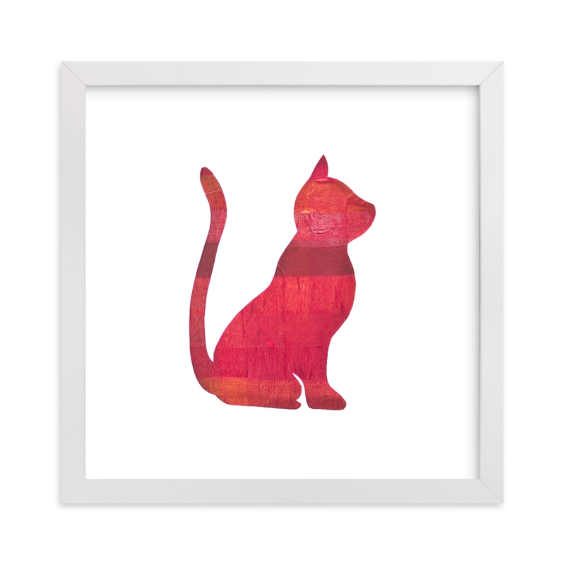 """Red Party Kitty"" - Art Print by Jeff Preuss in beautiful frame options and a variety of sizes."