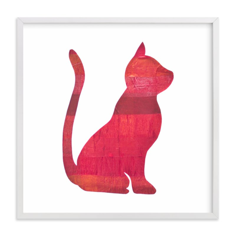 """""""Red Party Kitty"""" - Art Print by Jeff Preuss in beautiful frame options and a variety of sizes."""