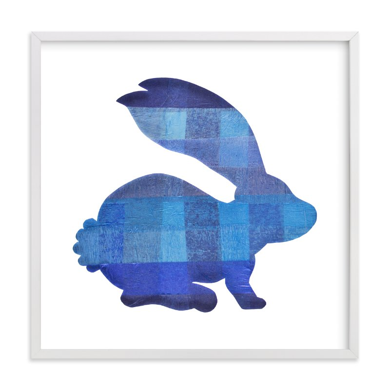 """Blue Party Bunny"" - Art Print by Jeff Preuss in beautiful frame options and a variety of sizes."