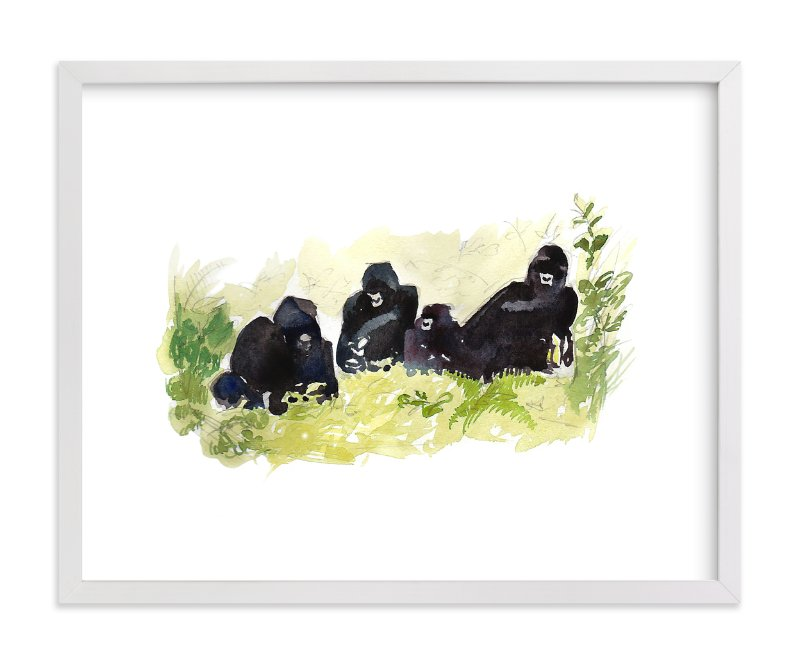"""""""Lounging Gorillas"""" - Art Print by Haley Mistler in beautiful frame options and a variety of sizes."""
