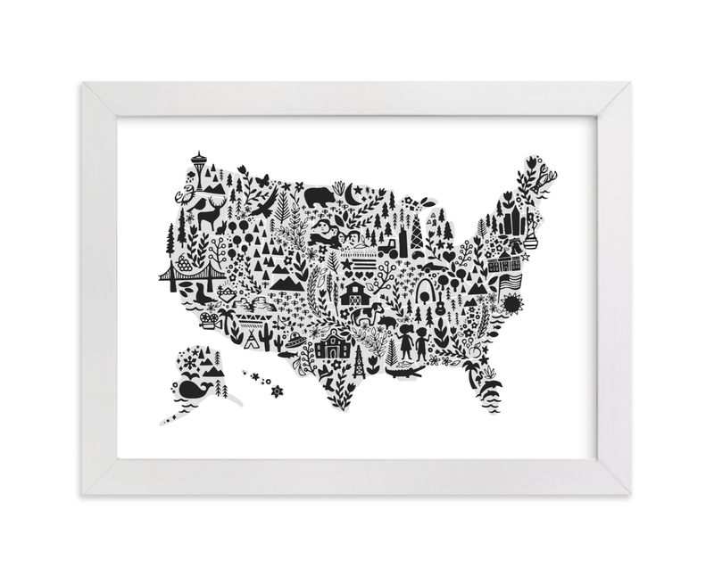 """Little Big American Map"" - Art Print by Jessie Steury in beautiful frame options and a variety of sizes."
