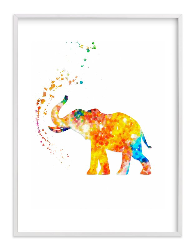 """Good Luck Baby Elephant"" - Art Print by Alex Isaacs Designs in beautiful frame options and a variety of sizes."