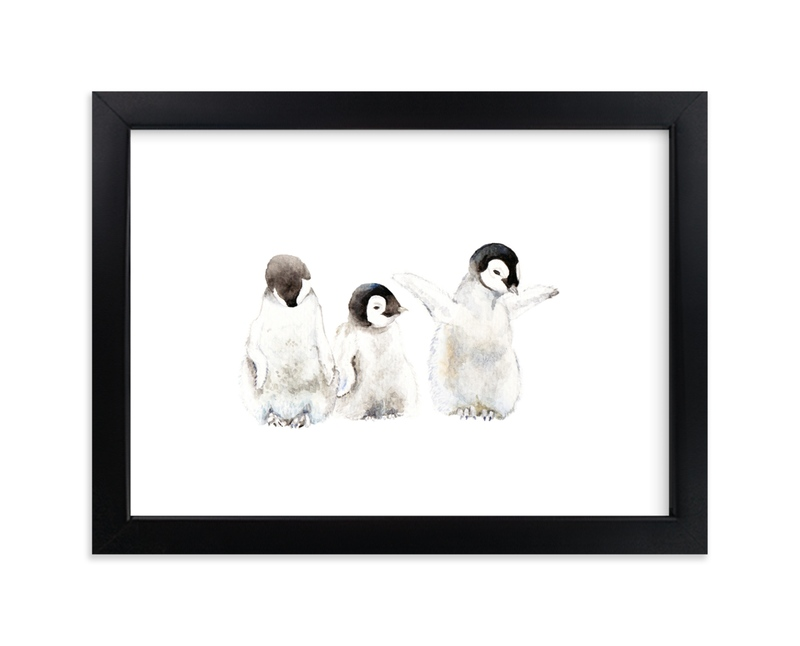"""""""Playful penguins"""" - Art Print by Lauren Rogoff in beautiful frame options and a variety of sizes."""