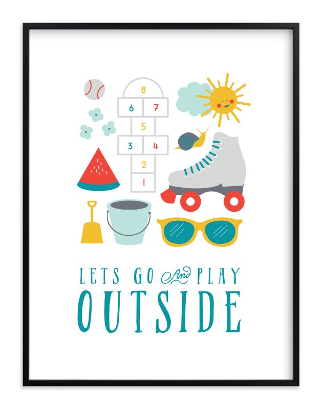 """""""Play Outside"""" - Art Print by Katie Zimpel in beautiful frame options and a variety of sizes."""