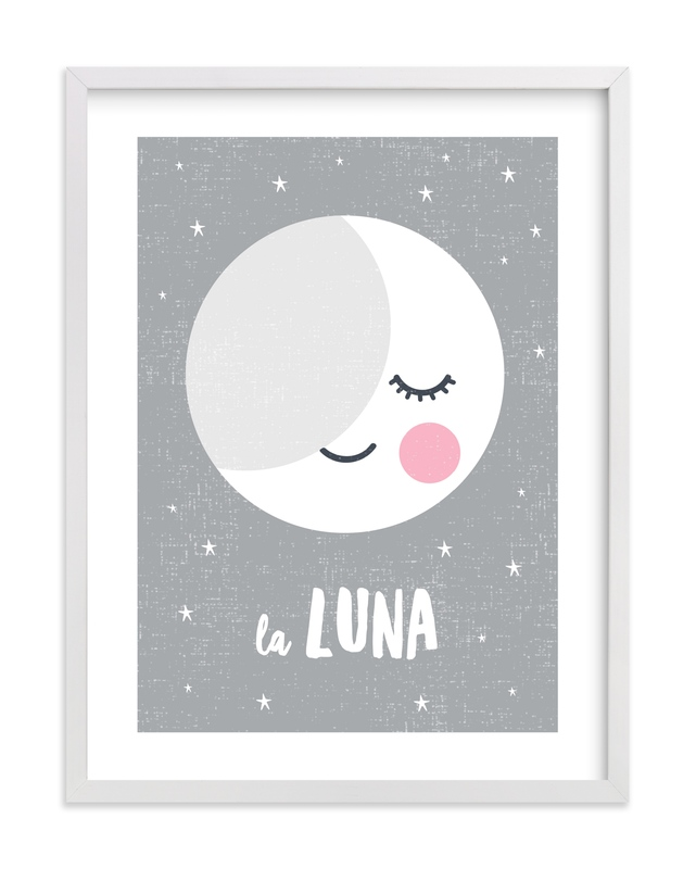 """""""Sleepy Moon"""" - Art Print by merry mack creative in beautiful frame options and a variety of sizes."""