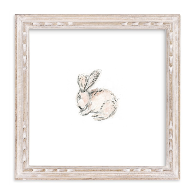 """Little Bunny Blue"" - Art Print by Mande Calhoun in beautiful frame options and a variety of sizes."