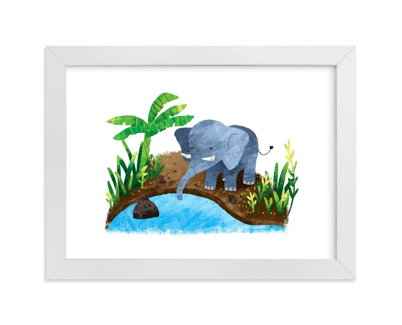 """Elephant in the River"" - Art Print by Evelline Andrya in beautiful frame options and a variety of sizes."