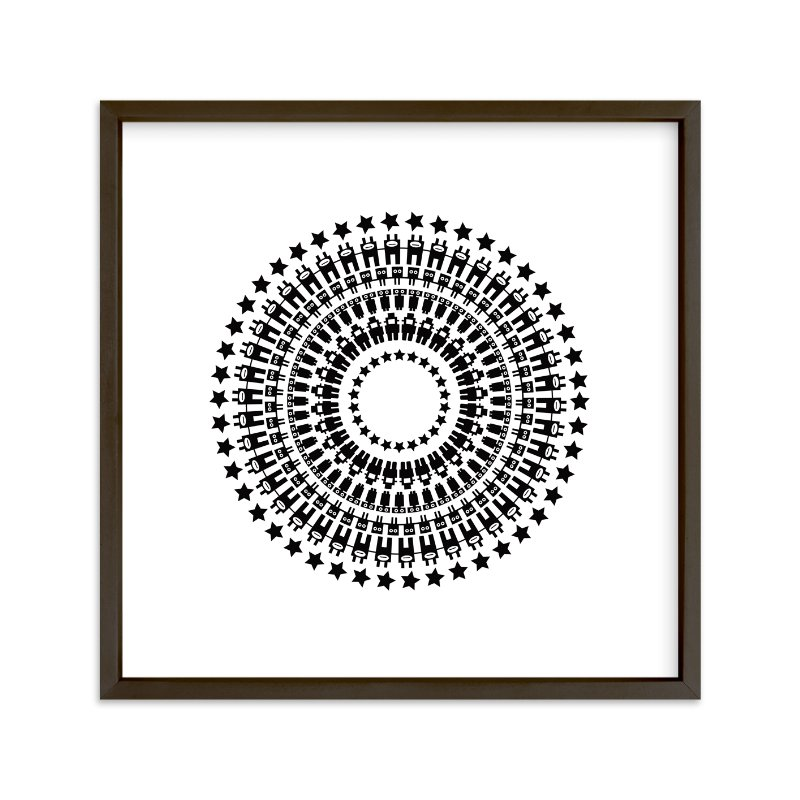 """""""Robot Mandala"""" - Art Print by Jan Shepherd in beautiful frame options and a variety of sizes."""