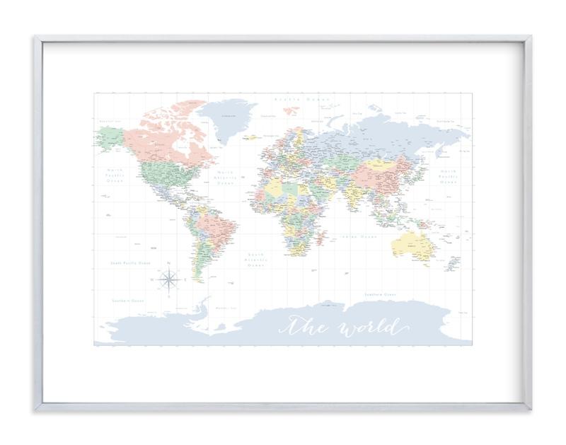 """Pastels nursery world map "" - Art Print by Rosana Laiz Blursbyai in beautiful frame options and a variety of sizes."