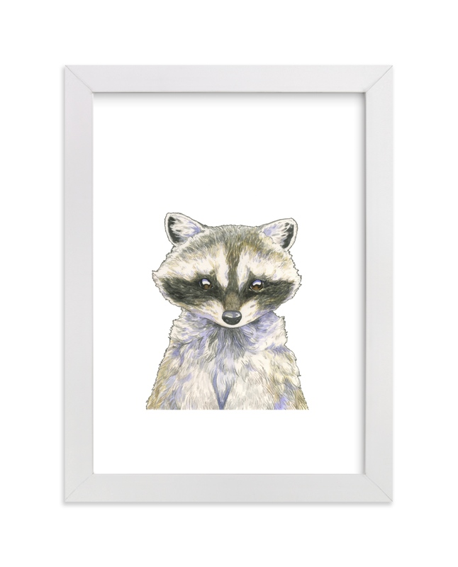 """""""Resourceful Raccoon"""" - Art Print by Natalie Groves in beautiful frame options and a variety of sizes."""