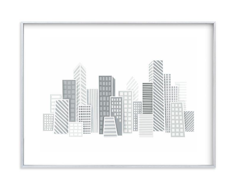 """""""Kid City Skyline"""" - Art Print by Jessie Steury in beautiful frame options and a variety of sizes."""