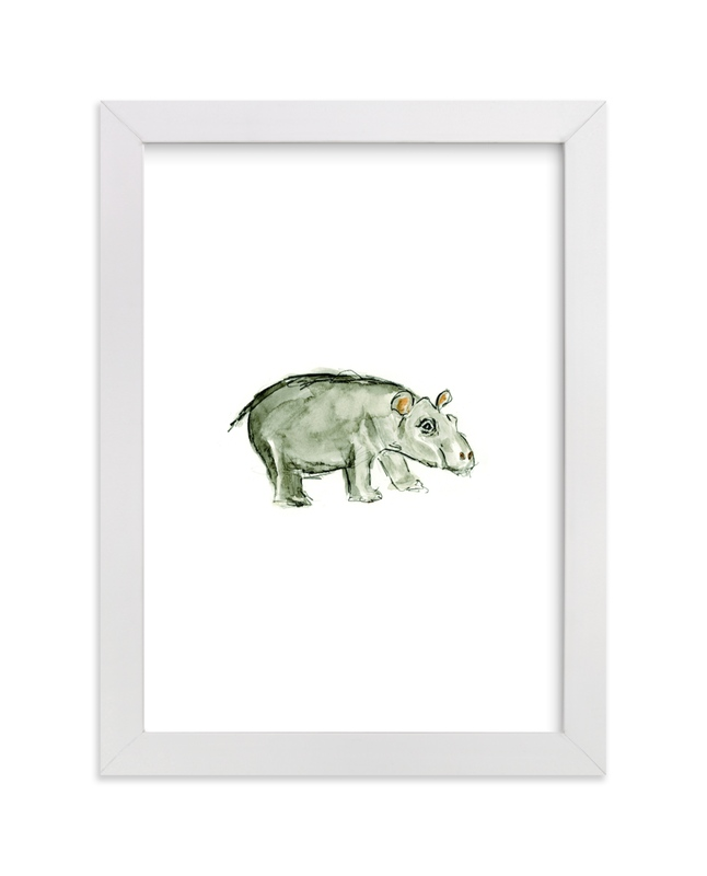 """""""Holly Hippo"""" - Art Print by Mande Calhoun in beautiful frame options and a variety of sizes."""