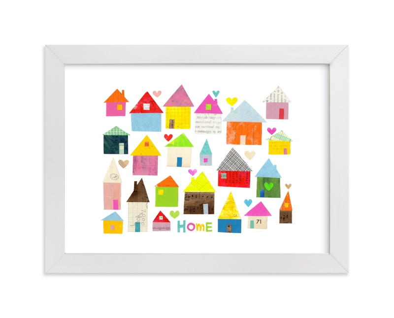 """""""Home + Hearts"""" - Art Print by Shelley Kommers in beautiful frame options and a variety of sizes."""