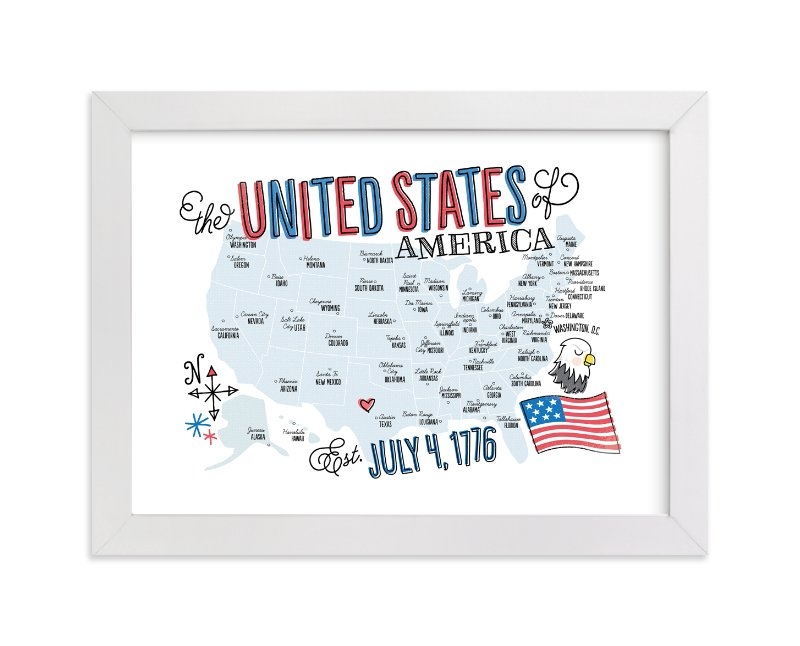 """""""USA Doodle Map"""" - Art Print by Jessie Steury in beautiful frame options and a variety of sizes."""