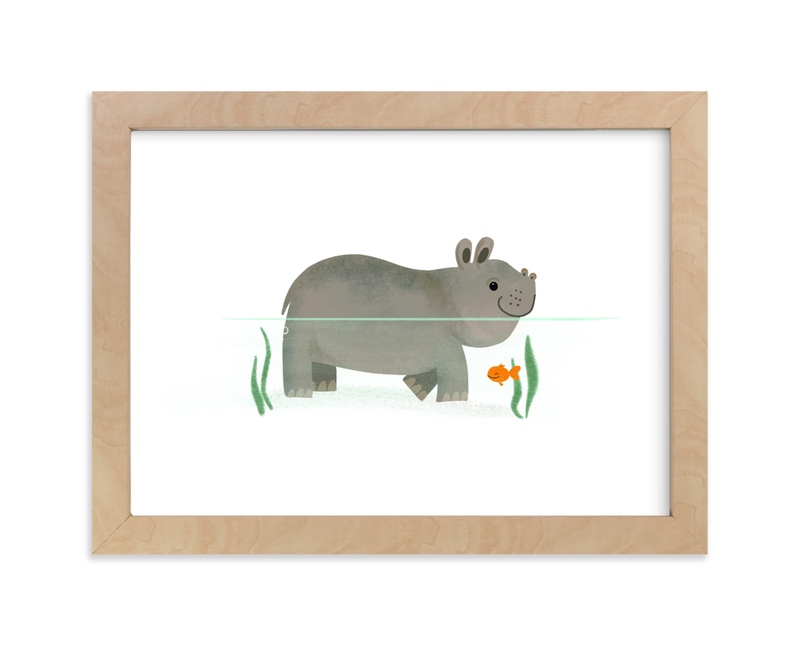 """""""Hip Hip Hippo"""" - Art Print by Itsy Belle Studio in beautiful frame options and a variety of sizes."""