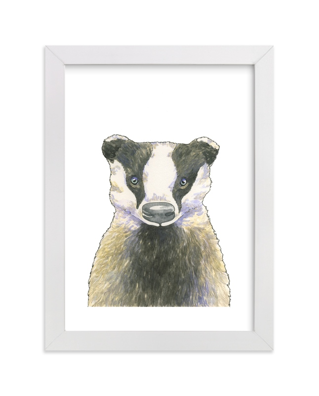 """""""Brave Badger"""" - Art Print by Natalie Groves in beautiful frame options and a variety of sizes."""
