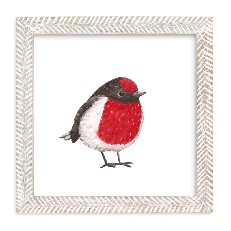 """""""Red Birdie"""" - Art Print by Aga in beautiful frame options and a variety of sizes."""