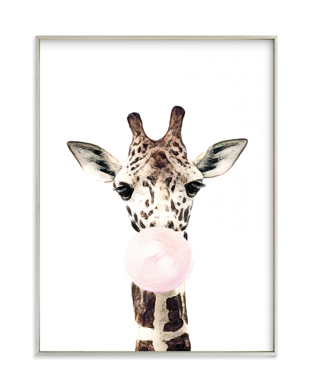 """""""Bubblegum Animals: Giraffe"""" - Art Print by Maja Cunningham in beautiful frame options and a variety of sizes."""