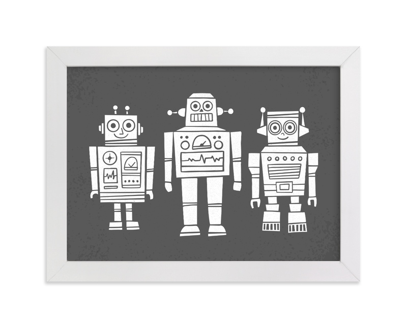 """Robot Buddies"" - Art Print by Jessie Steury in beautiful frame options and a variety of sizes."