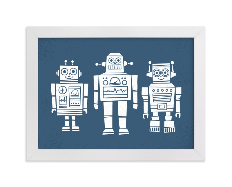 """""""Robot Buddies"""" - Art Print by Jessie Steury in beautiful frame options and a variety of sizes."""